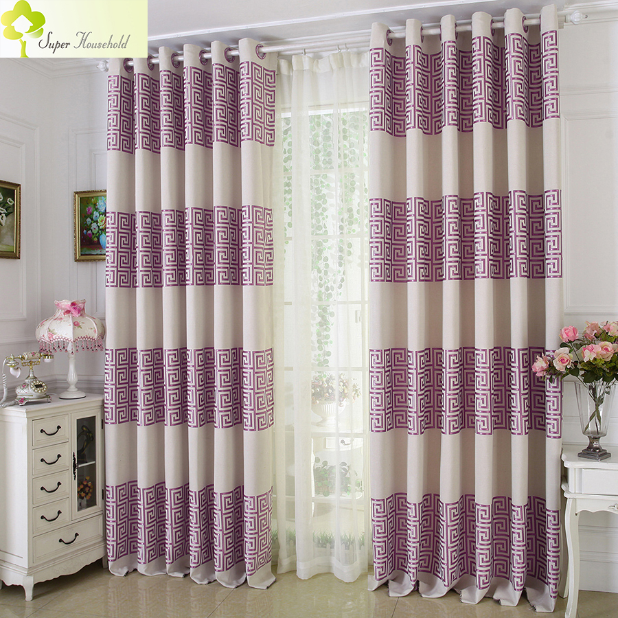 Chinese Elegant Faux Linen Curtains For Living Room Bedroom Blackout Window Treatment Curtain Kitchen Luxury Blinds