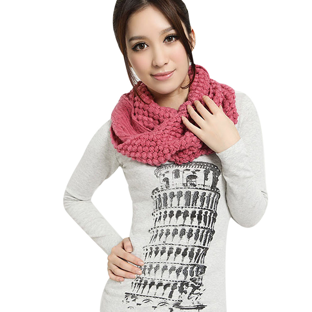 Echarpes Foulards Femme Women Winter Scarves Warm Infinity 2 Circle Cable Knit Cowl Neck Ring Scarf