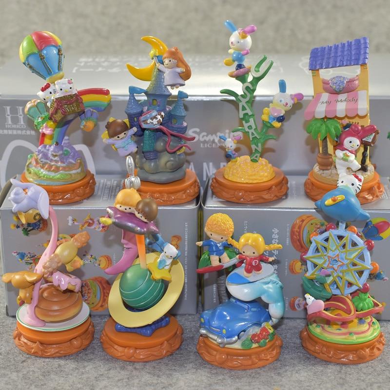 6pcs/lot Hello Kitty Dream Party Model Set Hello Kitty Garage Kit KT Cat Action Figures Toys Party Ornaments Kids Gifts скуби ду лего