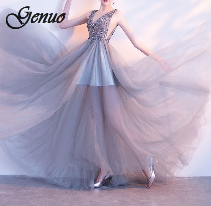 Nouveau Sexy dos nu dos ouvert fermeture à glissière bleu Satin robe de soirée haute Split Long étage longueur moulante robe rembourrée Stretch col en V robe
