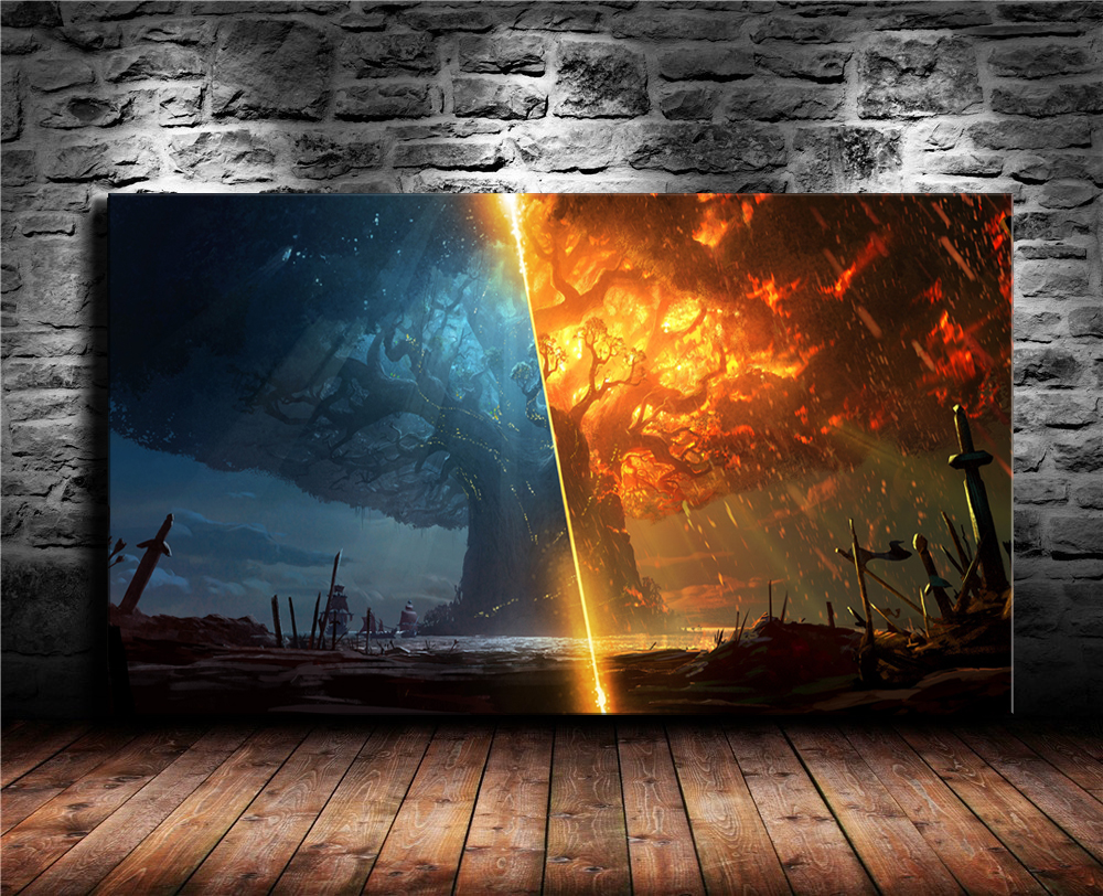 Game Poster Print Teldrassil Burning World of Warcraft Battle for Azeroth Canvas Painting Fan Art Wall Decor Cuadros Decorcion 1