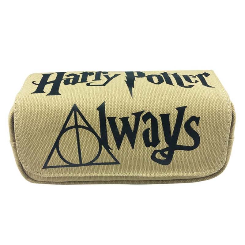 Anime Harry Potter Pen Pencil Case Canvas Large Capacity Students Stationery Bag Double Zipper Organizer Purse Cosmetic Bags original brand japanese anime pen bag unisex students fashion pen boxes