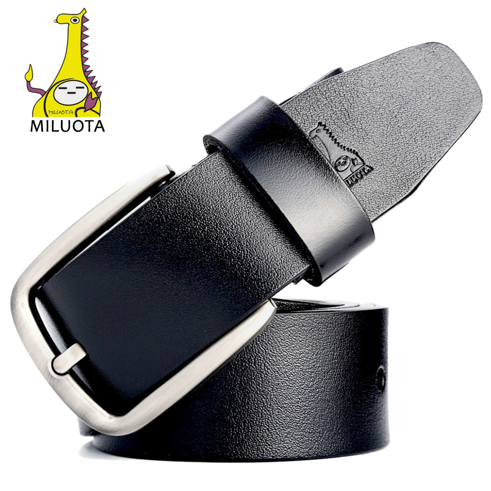 [MILUOTA] New fashion cow genuine leather   belt   luxury strap male   belts   for men classice Retro pin buckle