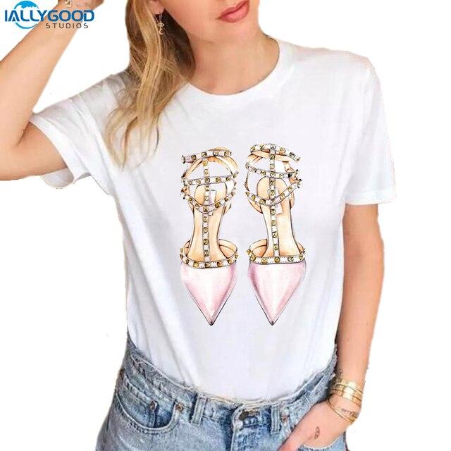 15eb5488 Moda acuarela ilustración tacones altos Zapatos Mujer Camisetas Camiseta  estampadas cuello redondo suave manga corta Casual