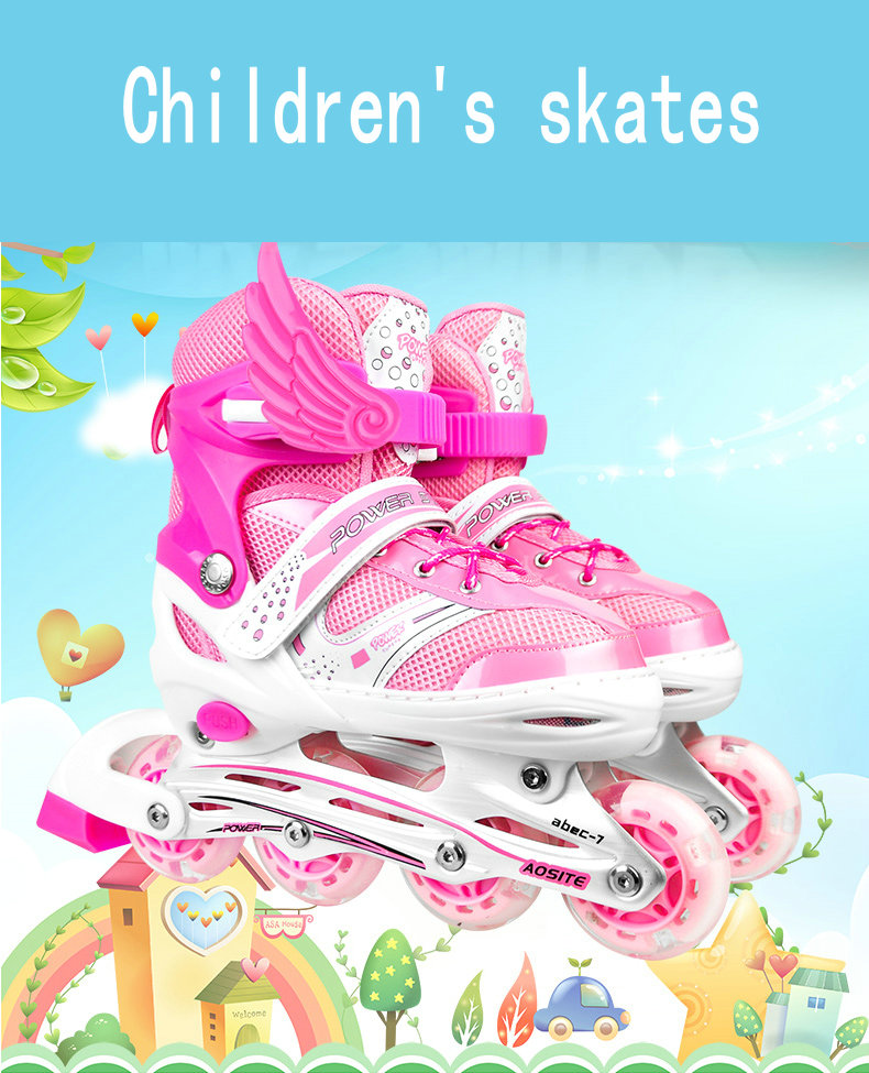 Single Row Roller Skates For Adult Children Boys And Girls PVC 4wheels Flashing Outdoor Sport