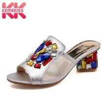 Купить с кэшбэком KemeKiss Summer Women Sandals Rhinestone Slides 2019 Crystal High Heels Slippers Shoes Women Beach Vacation Shoes Size 32-43