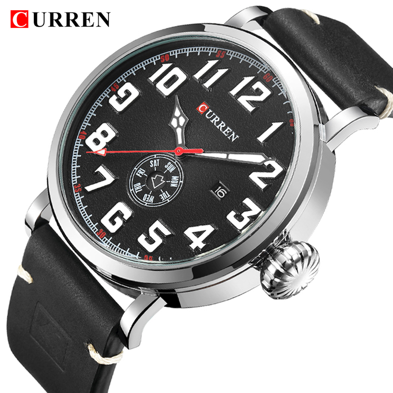 CURREN Leather Band Watches Fashion Sport Watches Men Analog Quartz Wrist Watch Week Date Display Male Clock Relogio Masculino fabulous 2016 quicksand pattern leather band analog quartz vogue wrist watches 11 23