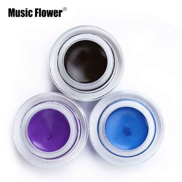 New Brand Music Flower Black Waterproof Eyeliner Gel Makeup Cosmetic Gel Eye Liner With Brush 24 Hours Long-lasting For Women 4