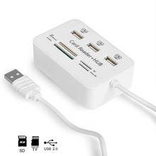 Twobro Micro USB Hub 2.0 Combo Card Reader All In One High Speed USB Splitter Adapter USB 2.0 Hub 3 Ports For PC Laptop Notebook