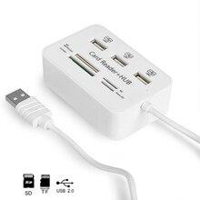Twobro מיקרו USB Hub 2.0 קומבו כרטיס קורא כל אחד במהירות גבוהה USB ספליטר מתאם USB 2.0 רכזת 3 יציאות למחשב נייד נייד