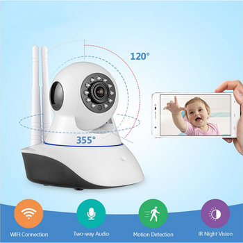 Dos antenas 720P HD interior Wi-Fi cámara de seguridad del hogar fuerte señal ir-cut visión nocturna IP vigilancia Alarma interior Bebé