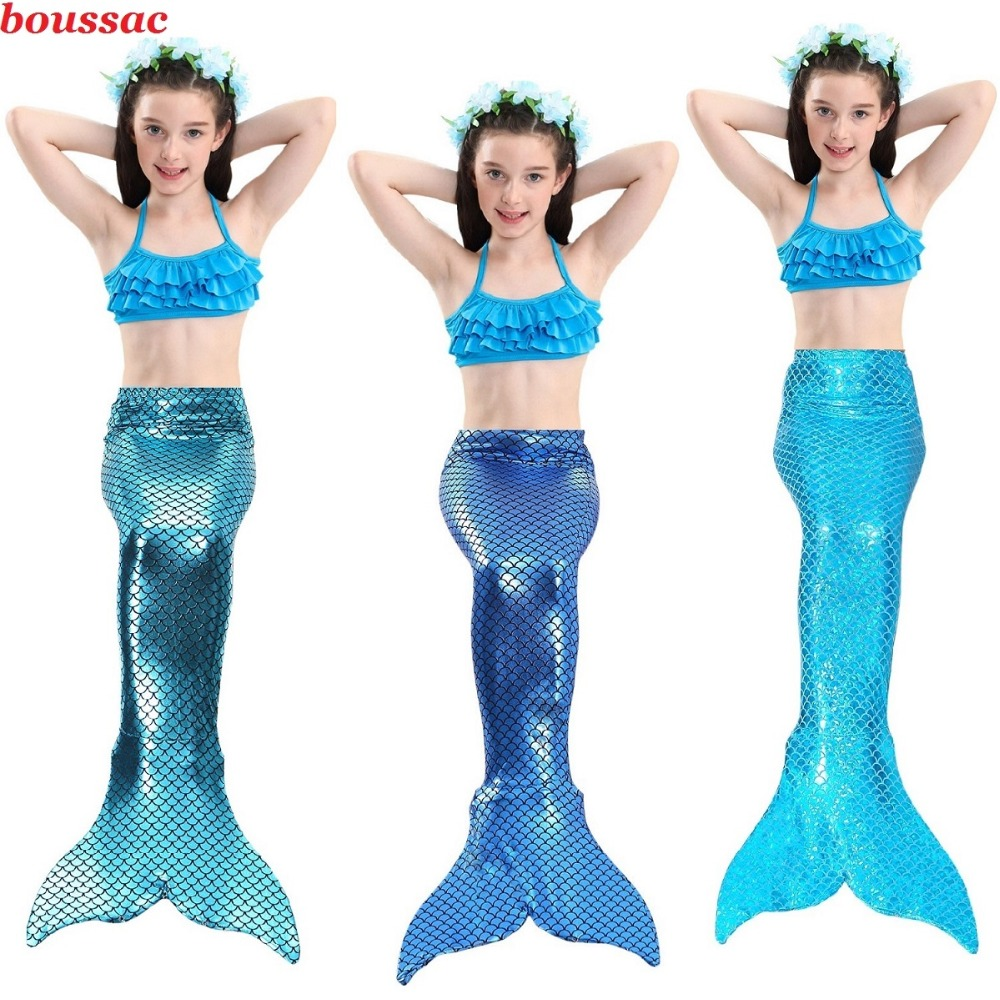 2019 Hot Kids Girls Mermaid Tails Costume with Fin Swimsuit Bikini Bathing Suit Dress for Girls With Flipper Monofin For Swim
