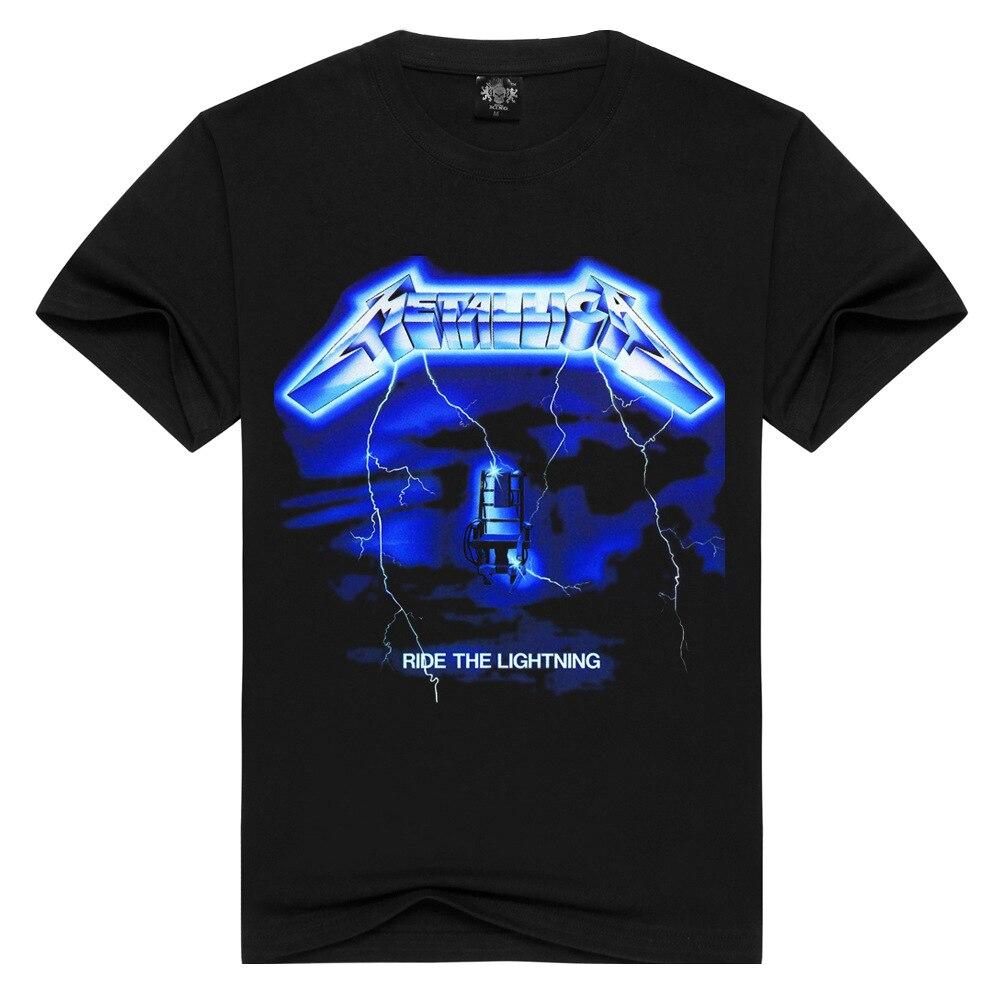 Hombres/mujeres Rock band Metallica camiseta ride the lightning camisetas verano Tops camisetas hombres Thrash Metal camisetas más tamaño