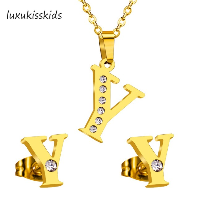 4f6f53dbf LUXUKISSKIDS Letter Y jewelry Sets Gold Shiny Crystal Stainless Steel  Pendant And Stud Earrings For Women