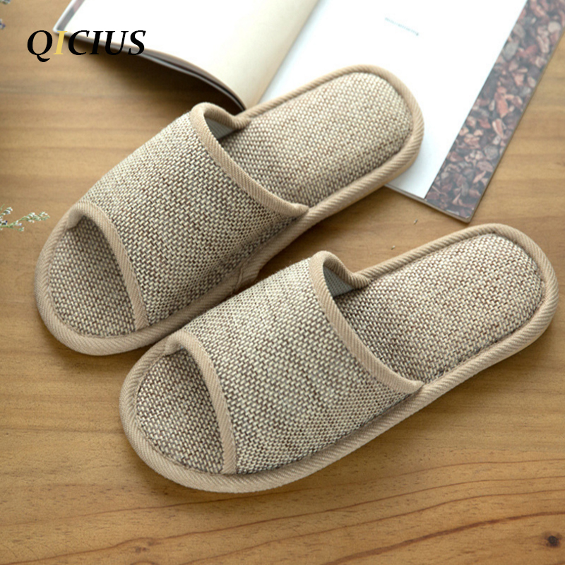 QICIUS 2017 Natural Flax Home Slippers Indoor Floor Shoes Silent Sweat Slippers For Summer Women Sandals Slippers T0156 2017 fashion flax home slippers indoor floor shoes belt silent sweat slippers for summer women sandals unisex flip flops af433