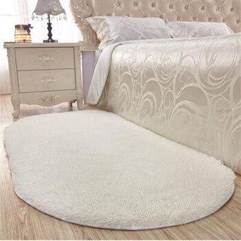 Starke Oval Seidige Matte Schlafzimmer Teppich Teppich Wohnzimmer Teppich Kaffee Tisch Boden Flur Tür Matte Nacht Bad Matten-in Teppich aus Heim und Garten bei