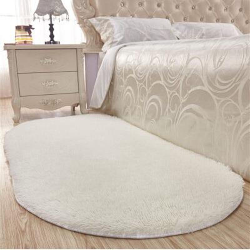 Thick Oval Silky Mat Bedroom Rug Carpet Living Room Rug