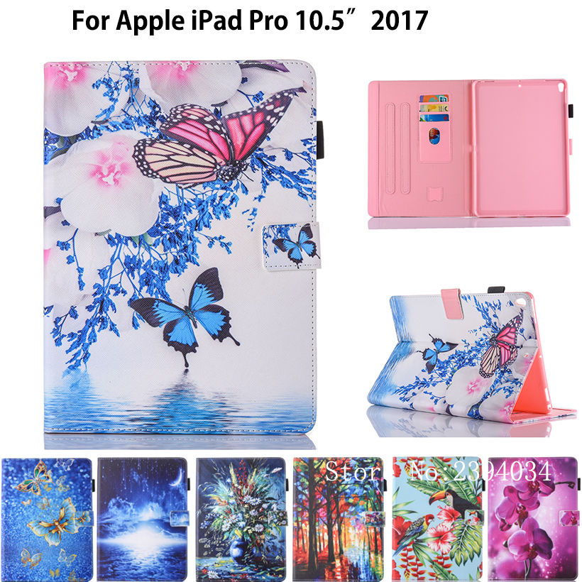 Fashion Case For Apple iPad Pro 10.5 2017 A1701 Smart Case Cover Funda Tablet Cute Cartoon PU Leather Stand Protective Shell nice soft silicone back magnetic smart pu leather case for apple 2017 ipad air 1 cover new slim thin flip tpu protective case