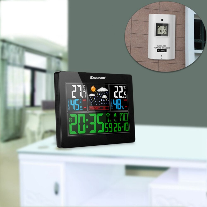 Wireless Smart Weather Station Digital Thermometer Hygrometer Temperature Humidity Meter Color LCD Weather Forecast Clock Alarm