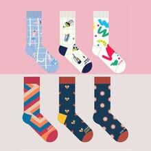 6 узоров, высококачественные хлопковые носки для мужчин и женщин, Забавные милые женские носки в стиле Харадзюку, дизайн, узор для студентов