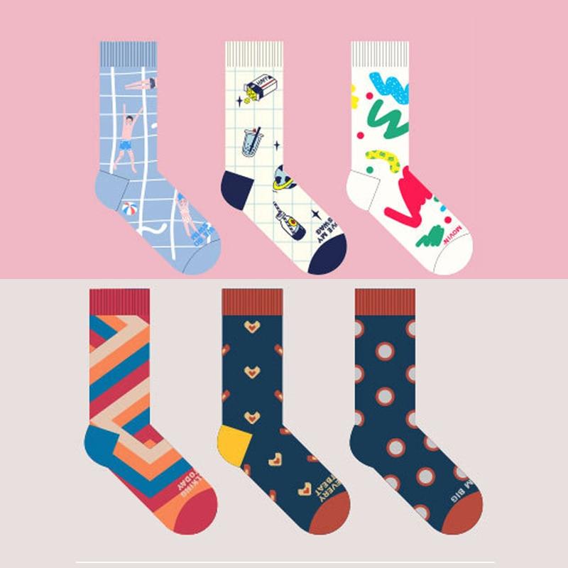 6 Patterns Of High Quality Cotton Socks For Men And Women Funny Harajuku  Female Cute Sock Original Design Pattern Students hockey sock