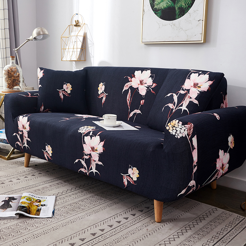 Flowers and leaves print elastic sofa covers for living room