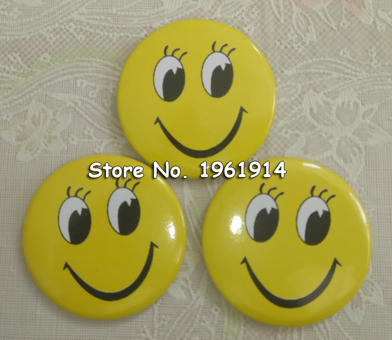 100% Quality 10 Pcs Smiling Face Badge 3cm Girl With Big Eyes And Chest Seal Childrens Badge Yellow Smiley Face Badge Goods Of Every Description Are Available Arts,crafts & Sewing Badges