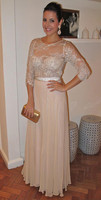 2015 Mother Of The Bride Dresses A Line 3 4 Sleeves Champagne Lace Long Brides Mother
