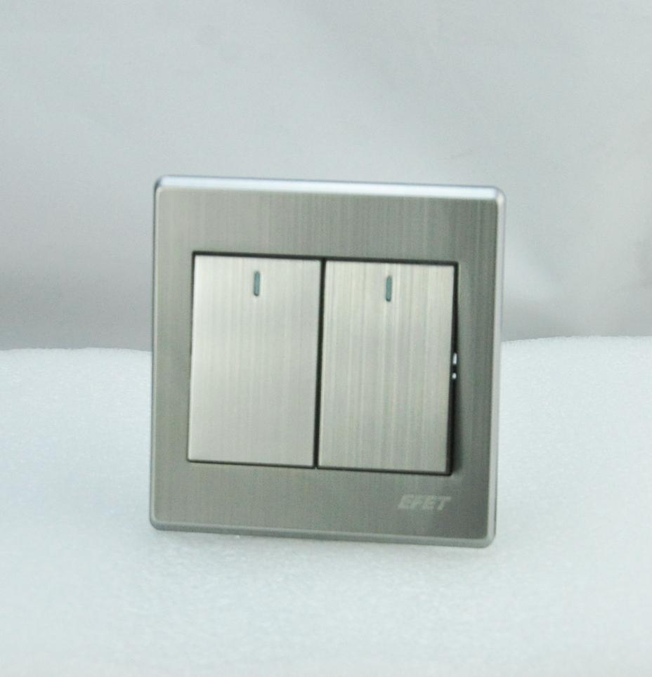 Luxury Wall Switch Panel, Light Switch 2 Gang 2 Way Push Button 16A ...