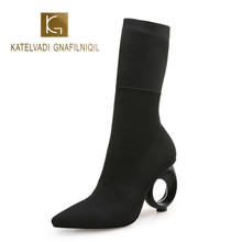 KATELVADI Black Women Winter Ankle Boots Knitting 8CM Fretwork Heels Fashion Model Short K-472