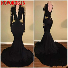 Deep V-Neck Mermaid Black Prom Dress Gold Appliques 2019 Long Sleeve Pageant Arabic Dubai Formal Party Gowns Evening