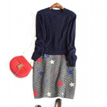 Europe and the United States women's new autumn 2016 Fashion sweater + two pattern wool vest dress embroidered stars