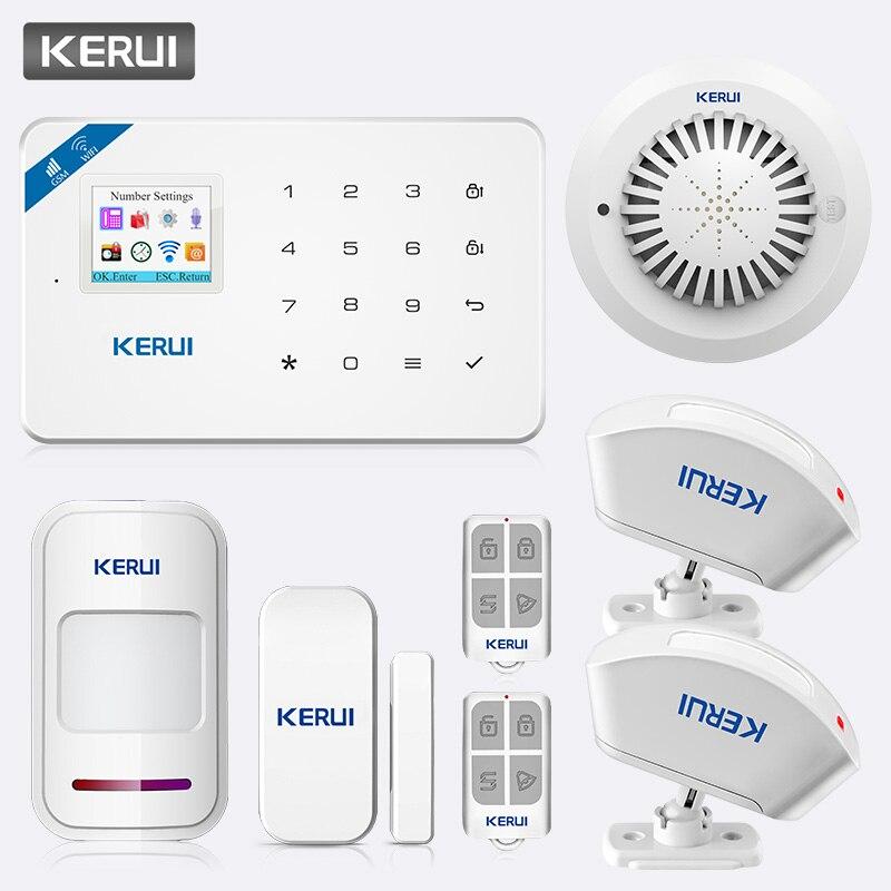 KERUI W18 TFT Screen WIFI GSM Home Security Burglar Alarm System PIR Motion Detector APP Control Smoke Fire Detector Alarm Kit