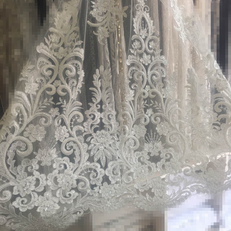 best Quality Embroidered Net Lace David 6606 with beads fashionable Nigerian French Net Lace for bridal