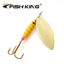 цена на FISH KING 1pc Willow shaped Spinner Bait 4g 6.6g 11.3g 17.3g 28.3g Fishing Lure Bass Hard Baits Spoon With Treble Hook Tackle