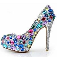2019, синие свадебные туфли со стразами, женские свадебные туфли со стразами, туфли лодочки на каблуке 14 см, пикантные женские туфли на платфор