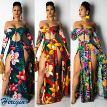 Summer Dresses 2019 New Women Summer Sexy Slash Neck Off Shoulder Long Sleeve Skinny High Waist Floral Split Dress