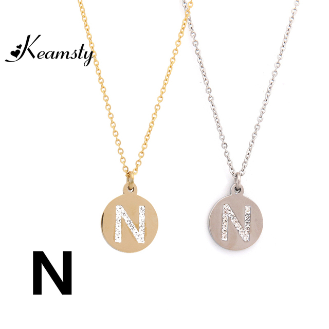 Keamsty alphabet crystal letter necklace n charm necklaces pendants keamsty alphabet crystal letter necklace n charm necklaces pendants stainless steel silver gold necklace for jewelry aloadofball