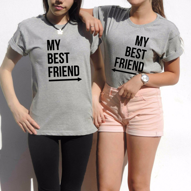 32c1972e8 My Best Friend T-Shirt Summer Women BFF T Shirt Fashion Casual O Neck Short  Sleeve Letter Print tshirts Funny Graphic Tee Top