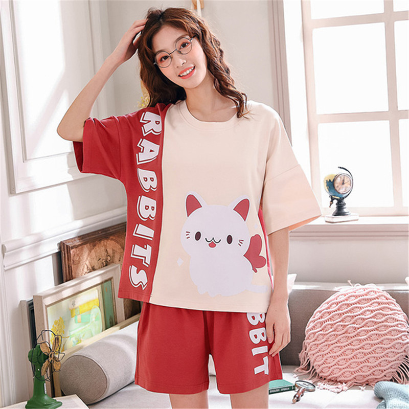 Underwear & Sleepwears New Pyjama Femme Pizama Lrregular Hem Pajamas For Women Cotton Home Sleepwear Night Suit Casual Home Clothes Stich Pijama Mujer