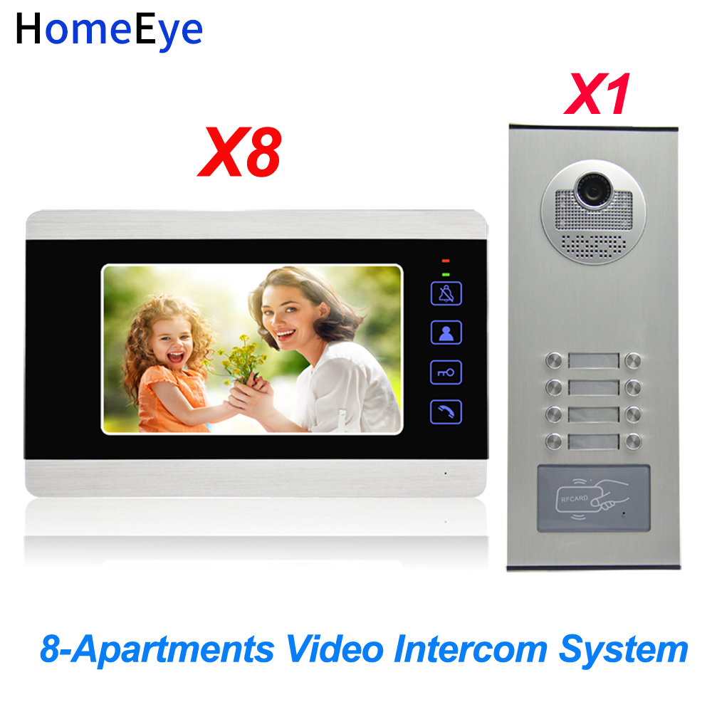 HomeEye 7'' 4-Wire Multi-family Video Door Phone Intercom 8-Apartments Door Bell Home Access Control System Waterproof 1200TVL