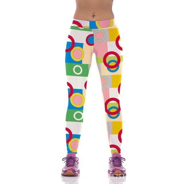 НОВЫЙ YT2060 Мода Sexy Девушки Женщин Кольцо Dot 3D Печать Высокая Талия Полиэстер Фитнес Леггинсы Брюки Плюс Размер