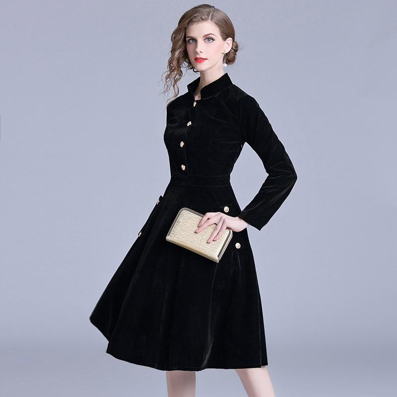 Robe Vintage velours noir bureau Robe manches longues hiver femmes robes nouveauté 2019 Midi Robe de soirée Zomer Jurk K307 - 2