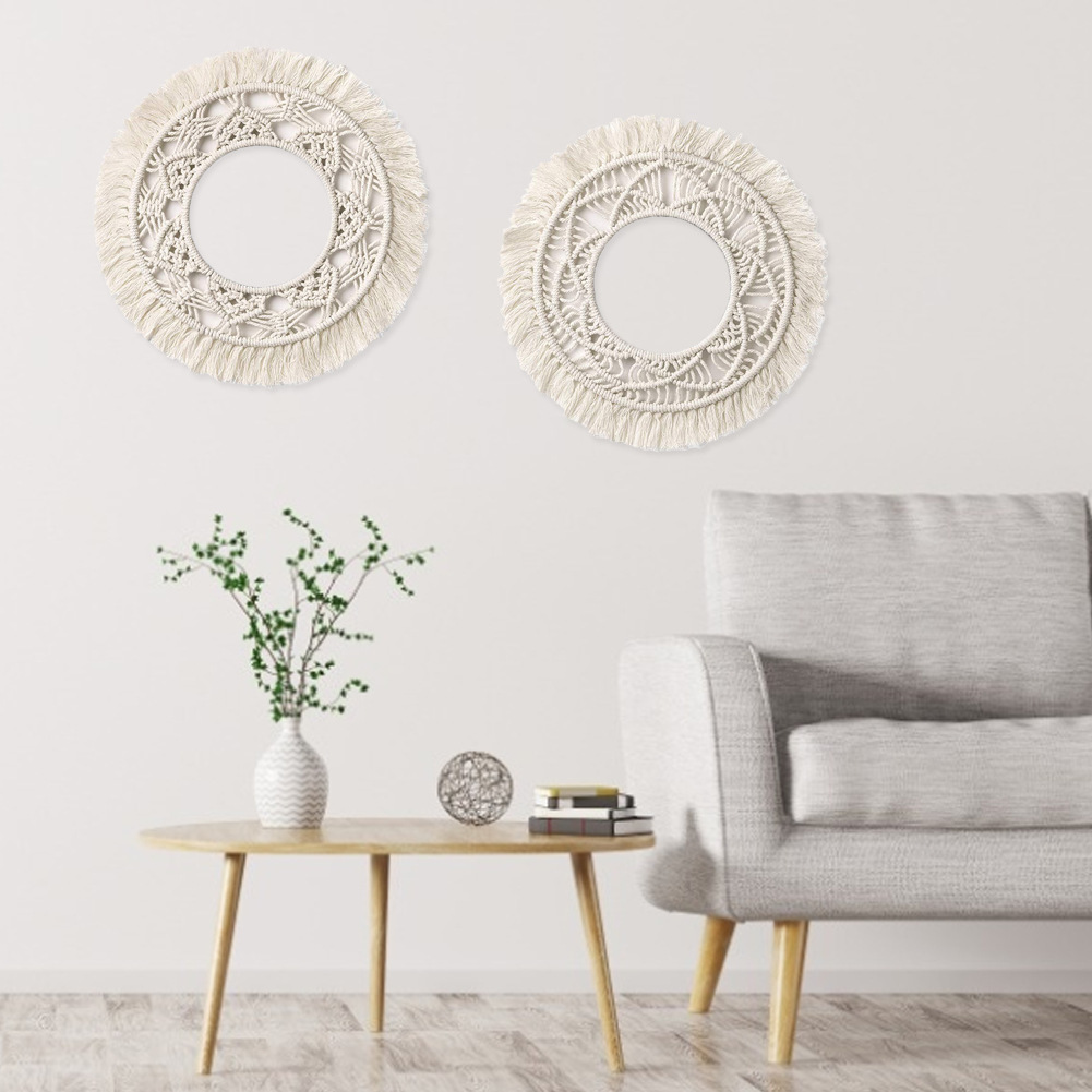 Handmade Bohemian Fringed Wall Frame Tapestry Macrame Ceremony Backdrop Wall Art Frame For Home Living Room Decoration(China)