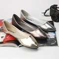 Big size 40.41 classic women simple metal color pu flat shoes lady shallow mouth casual shoes