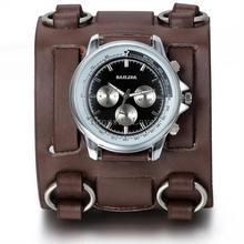 Nuevos Hombres calientes Relojes De Pulsera de Cuero Punky de La Vendimia con 74mm de Ancho de Banda de Gran Dial Horas Reloj de pulsera para Hombres relogio grabar