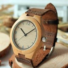2014 Японский 2035 Движение Бамбука Деревянные Дерево Часы Реального Кожаный Ремешок женщин Платье Наручные Часы Для Рождественских Подарков
