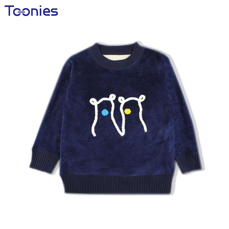 2017 Baby Boys Sweaters Casual Warm Plus Velvet Pullovers Baby Girls Boys Sweater Cartoon Pattern Autumn Winter Kids Clothes