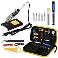 US EU Plug 110V 220V 60W Adjustable Temperature Electric Soldering Iron Set With 5pcs 900M Tips Wire Cutter Cloth Bag