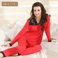Qianxiu Pajama sets Para As Mulheres Sexy Lace Sleepwear Conjunto Pijama Mulheres Modal V-neck de manga Comprida Calças Salão desgaste
